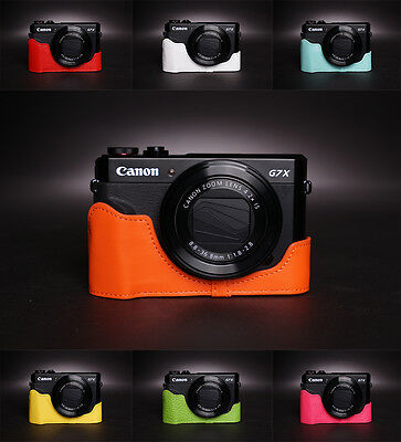 Genuine Real Leather Half Camera Case Bag Cover for CANON G7X mark II M2 M II 7