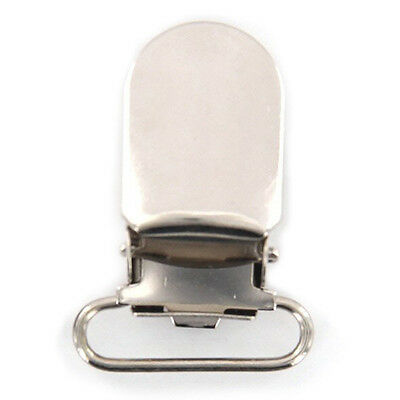 2x(20pcs 11mm Webbing Hook Pacifier Suspender Clips for Craft - Silver SH