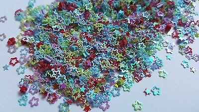 5g Craft Sequin / Confetti - AB Plated - 4mm - Stars & Outlines - Mixed Colour