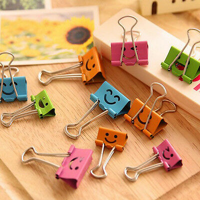8pcs/lot Sweet Candy Color Smile Face Metal Binder Clips Notes Letter Paper Clip