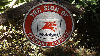 Mobil Gas Gasoline Motor Oil Automotive Round Tin Wall decor Advertising Sign