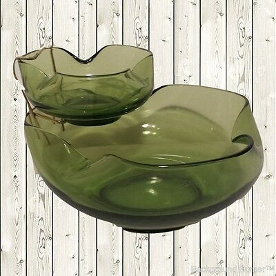 Vintage Clear Green Glass Chip and Dip Bowl Set Retro 1960's