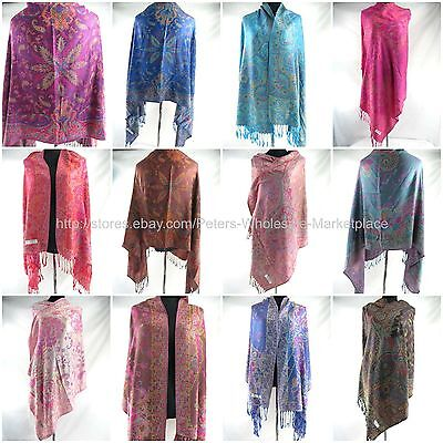 US Seller-10pcs paisley vintage viscose pashmina scarf Wholesale women gift