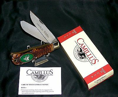 """Camillus Trapper's Knife American Wildlife #10G """"The Elk"""" Pewter Casting W/Box"""