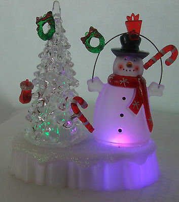 Led Colour Changing Christmas Scene Tree/ Snowman/ Red (batteries inc)