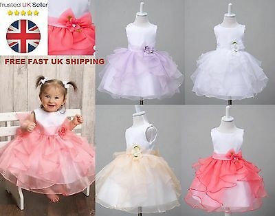 Baby Girl Flower Dress Wedding Princess Party Christening *Cotton Lined 0-24M*