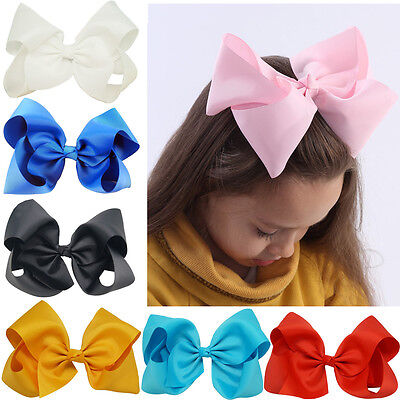 8 Inch 15 pcs/lot Large Girls Hair Bows Grosgrain Ribbon Large Clip Handmade