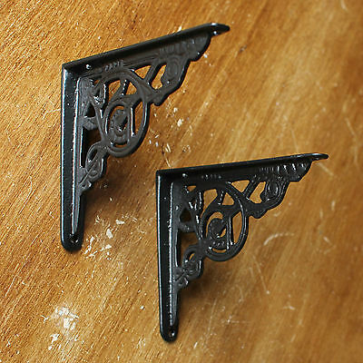 "2 x BLACK 5x4"" SMALL ANTIQUE CAST IRON VICTORIAN WALL SHELF BRACKETS - BR02bx2"