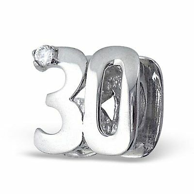 30th Birthday Crystal CZ Sterling Silver European Charm Bead