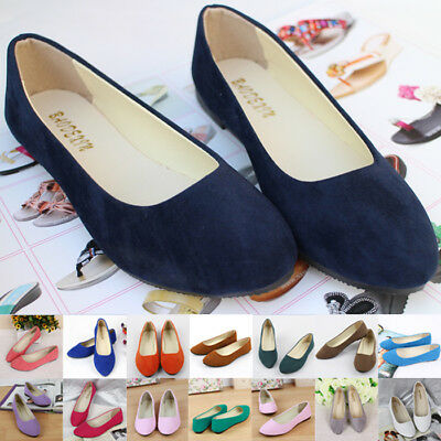New Womens Ballerina Ballet Dolly Pumps Ladies Flats Loafers Boat Shoes Size
