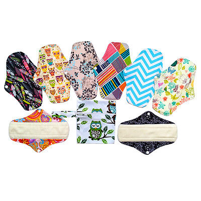 "8PCS 10"" Washable Bamboo Cloth Menstrual Pads Sanitary Pads+1PC WET Bag"
