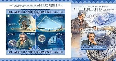 Z08 IMPERFORATED SLM16206ab SOLOMON ISLANDS 2016 Albert Einstein MNH Set