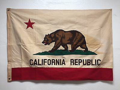 Vintage Style 3x4.5 Cotton California Republic State Bear Flag Canvas Pennant