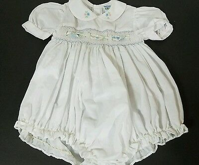 Vintage Nursery Rhyme Baby Romper Size 6mths Smocked Front Poly Cotton 1pc.