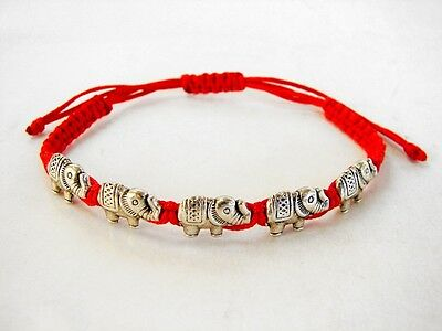 Feng Shui Red Bracelet with 5 Elephant Charms