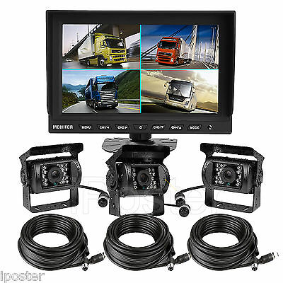 "9"" Split Quad Car Rear View Monitor + 3x 4Pin Backup CCD Camera 33Ft For Truck"