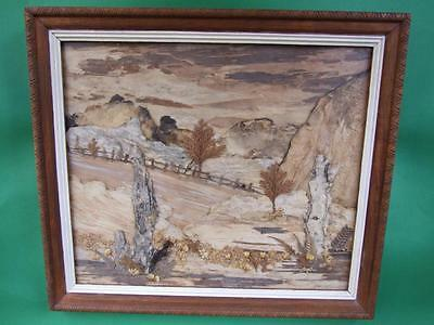 Superb Aboriginal Art Bark Landscape Signed Framed Vintage 1950.s