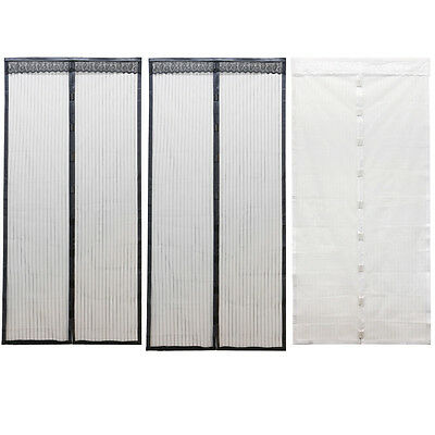 2 size Mesh Door Curtain Magnetic Insect Mosquito Screen Net White/Black