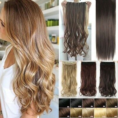 UK Real 3/4 Full Head Clip In Hair Extensions Curly Straight One Piece As Human