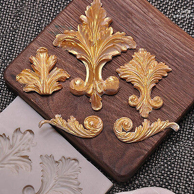 Flourish Scrolls Vintage Silicone Fondant Mould Cake Decor Leaves Sugar Baking