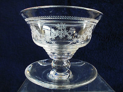 Vintage English Stuart Crystal Dessert Footed Bowl Swags & Garlands