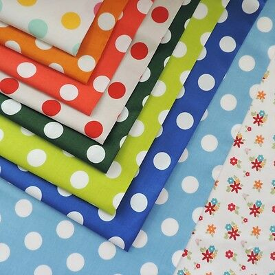 £1 CLEARANCE QUILTING FABRIC Dots by RILEY BLAKE Medium School Dots 100% Cotton