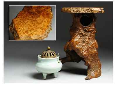 Chinese Antique Celadon Incense Burner 龍泉窯 and Wooden Stand  /   Very Nice !!