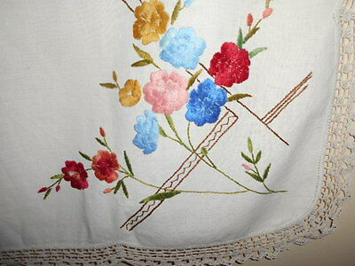 Vintage hand embroidered TABLECLOTH white &crocheted 90cm square linen cotton