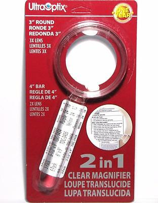 """UltraOptix 2 in 1 Clear Magnifier - 3"""" Round 3X Lens with 4"""" Bar 2X Magnifier"""