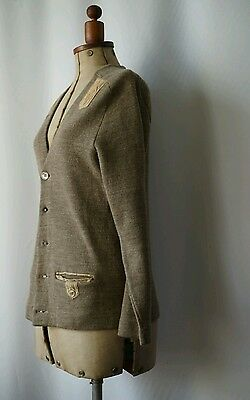 Vintage 1950s italian wool and leather cardigan