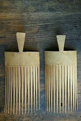 Vintage papua new guinea bamboo hair combs ethnic tribal pacific collectable