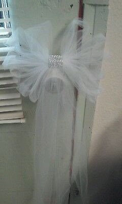 10 Wedding Pew Bows  White with bling  Or You Chose Your Color