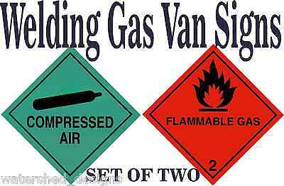 Welding Signs Pack Of Two Compressed Air  Flammable Gas Pro Quality Van Sign