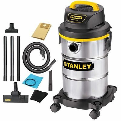 Stanley Wet/Dry Vacuum Portable 5 Gallon 4 HP Stainless Steel Tank with Casters