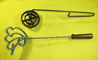 TIMBALES LOT of 2 MOLDS CAST IRON ALUMINUM WIRE WOOD HANDLES PASTRY SHELLS