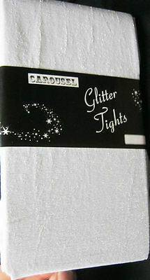 White Silver Glitter 40d Girls Tights Age 4 5 6 7 8 9 10 Sparkly fairy princess