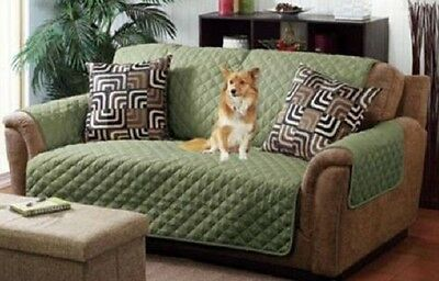 Quilted Reversible Pet Protector Cover Microfiber Sage Olive Chair Loveseat Sofa