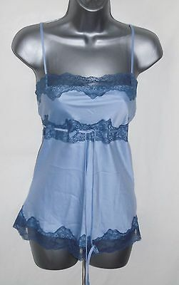 Lovely Blue Satin With Lace Trim Satin Feel Camisole