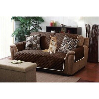 Quilted Reversible Pet Protector Cover Microfiber Chocolate/Cream Chair Sofa LS