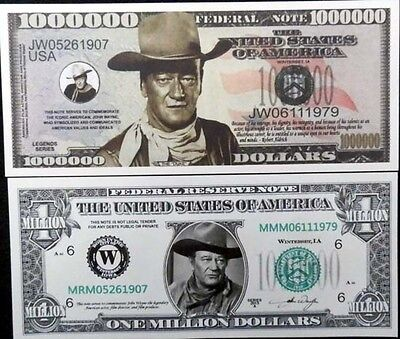 John Wayne FREE SHIPPING! TWO DIFFERENT KINDS OF novelty bill.