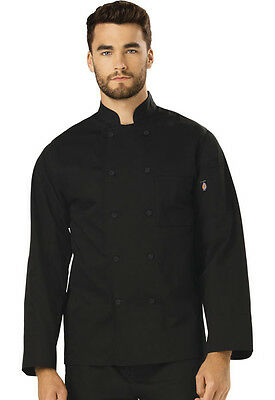 Dickies Unisex Classic Cloth Covered Button Chef Coat  DC44 Black  WE SHIP FREE
