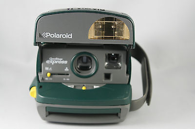 Vtg Polaroid One Step Express Instant Camera Green Close Up Tested and Working