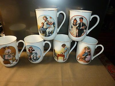 Glassware-Norman Rockwell Set Of 6 1981 Museum Collection Coffee Porcelain Mugs