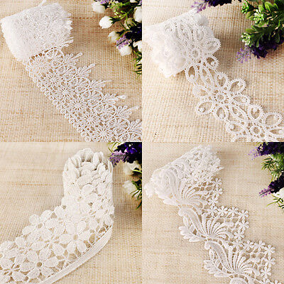 10 yards Embroidered Net Vintage Style Lace Trim Ribbon White Lot of Style