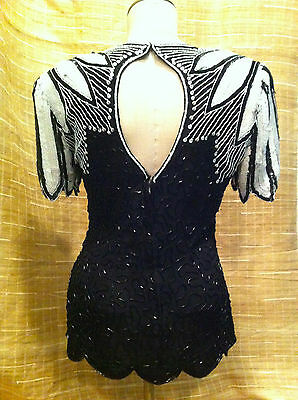 Vintage Stenay Black And White Sequined & Beaded Blouse/top Women's Size Small