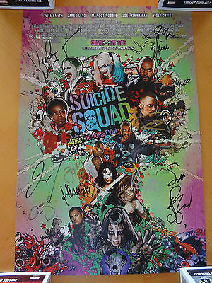 SDCC 2016 Suicide Squad Cast Signed Movie Poster PSA/DNA COA Will Smith +13