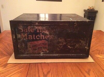 Rare Antique Safe Home Matches Tin Store Display Case