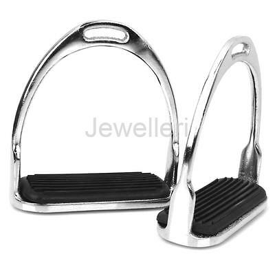 1 Pair SAFETY IRON STIRRUPS HORSE RIDING EQUESTRIAN WITH RUBBER TREADS