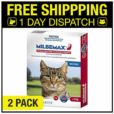 Milbemax Allwormer For Cats Over 2kg 2 Tablets Intestinal Wormer