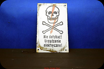 Vintage Polish Porcelain DANGER Do Not Touch Electrical SKULL & CROSSBONE Sign
